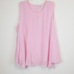 Ava & Viv Pink pleated blouse top plus size 3X